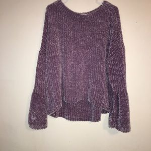 Express bell sleeve crushed violet sweater .
